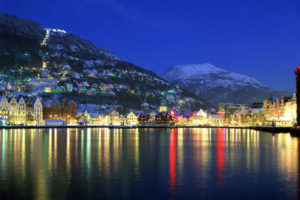 Bergen. Panoramic view of the harbour on winter evening Credits: Bergen Tourist Board / Willy Haraldsen - visitBergen.com